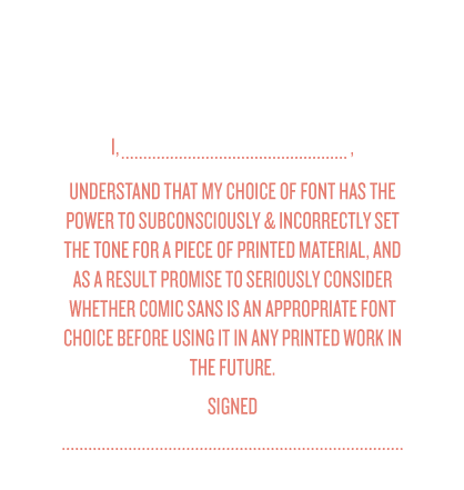 Comic Sans Pledge